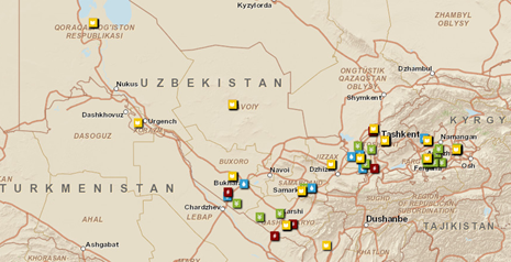 Titel: Currently, the World Bank runs 15 projects in Uzbekistan. In its monitoring, the ILO focused mainly but not exclusively on World Bank-supported areas. (World Bank Project Map, available at: http://maps.worldbank.org/p2e/mcmap/map.html?code=UZ8level=country&indicatorcode=0553&title=Uzbekistan&org=ibrd)